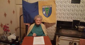 Kitty Seery (101) signs the Save Roscommon petition. Photograph: Save Roscommon Facebook page