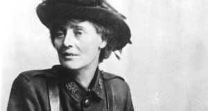 Leaflets of an anti-British character found: Countess Constance Markievicz in Irish Citizen Army uniform