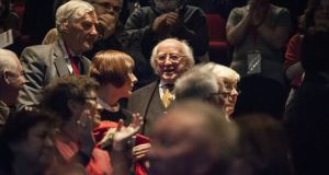 President Michael D Higgins at the Theatre of Change Symposium at the Abbey Theatre. Photograph:  Monika Chmielarz
