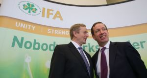 Taoiseach Enda Kenny with  Jer Bergin from the Irish Farmers' Association.