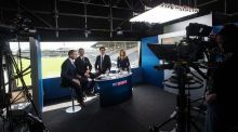 Jamesie O'Connor, Ollie Canning, Brian Carney and Rachel Wyse at the first ever Sky Sports GAA broadcast, Kilkenny versus Offaly, at Nowlan Park in 2014. Photograph: James Crombie/Inpho