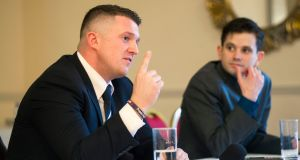 Former English Defence League founder Tommy Robinson  and Peter O'Loughlin of Identity Ireland pictured at a press conference in Cork. Photograph: Daragh Mc Sweeney/Provision