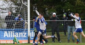 Conor McManus of Monaghan celebrates scoring a goal late on in Kiltoom. Photograph: Andrew Paton/Inpho