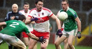 James Kielt in action during Derry's win over Fermanagh. Photograph: Inpho