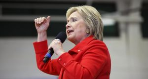 Hillary Clinton: condemned the merger of Johnson Controls and Cork-based Tyco International during a campaign rally in Davenport, Iowa. Photograph: Patrick T. Fallon/Bloomberg