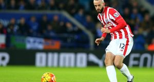 Stoke City's Marc Wilson: club's  physio thinks defender has  medial ligament damage in his knee. Photograph: Tim Keeton/EPA