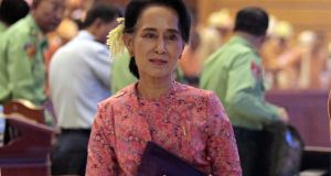 Myanmar democracy leader Aung San Suu Kyi after attending the first day of a new parliament session in Naypyitaw, Myanmar on Monday. Photograph: Hein Htet/EPA