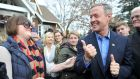 Democratic presidential candidate Martin O'Malley greets potential supporters on Sunday  in Johnston, Iowa. Photograph:  Steve Pope/Getty Images