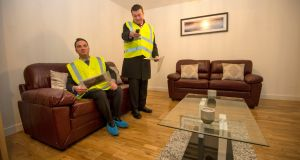 Minister for the Environment Alan Kelly with TD John Lyons in a modular home at Balbutcher Lane, Poppintree, Ballymun, Dublin. Photograph: Dara Mac Dónaill/The Irish Times