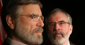 Sinn Féin's Gerry Adams admires his waxwork's  well-groomed plumage. Photograph: Brian Lawless/PA Wire
