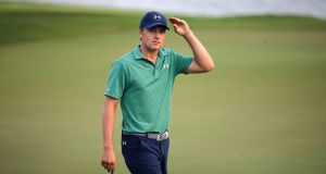 Jordan Spieth of the United States walks off the 18th hole after the final round of the SMBC Singapore Open. Photograph: Wong Maye-E/AP