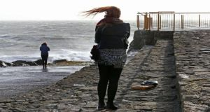Hair raising: Stormy weather at Palmers Rock in Salthill, Galway, on Monday. Photograph: Joe O'Shaughnessy