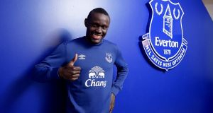 Everton unveil new signing Oumar Niasse at Finch Farm in Halewood, England. Photograph: Tony McArdle/Everton FC via Getty Images