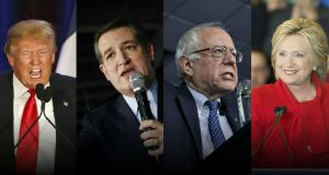 Billionaire Donald Trump lost to Texas senator Ted Cruz in the Iowa caucuses, while Hillary Clinton and Bernie Sanders were locked in a virtual tie after a hard-fought battle. Photograph: Composite/Bloomberg/AFP