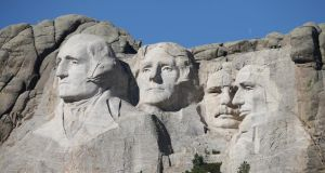 Mount Rushmore: Abraham Lincoln may pass muster, but Thomas Jefferson (slave owner), George Washington (slave owner) and Theodore Roosevelt (white supremacist and imperialist) do not. Photograph: Scott Olson/Getty