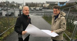 Pictured above are the cathaoirleach of Wicklow County Council, Cllr John Ryan, and Bray municipal district manager, Des O'Brien, examining the plans on the site of the proposed development