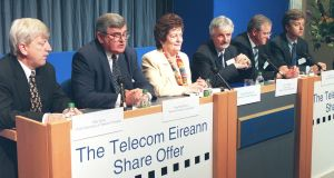 Vodafone and Verizon shares can be traced back to  original purchase of shares in the Telecom Éireann (Eir) flotation in 1999, being discussed here with  then minister Mary O'Rourke in the centre. Photograph Paddy Whelan