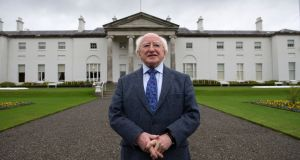 "President Michael D Higgins:  Central to what he describes as his ""presidency of ideas"" is a desire to challenge, to provoke, to question assumptions and orthodoxies. Photograph: Frank Miller"