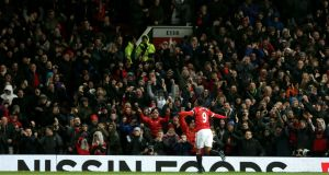 Anthony Martial scored Manchester United's second in their 3-0 win over Stoke City at Old Trafford. Photograph: PA