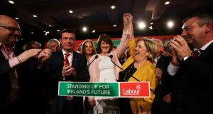 Tánaiste and Labour leader Joan Burton is congratulated after she addressed the Labour Party conference at the Mullingar Park Hotel, Mullingar, Co Westmeath on January 30th. Photograph: PA
