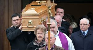 Kenneth O'Brien's coffin is carried from St. Matthew's Church, Ballyfermot on Wednesday morning. Photograph: Colin Keegan/Collins