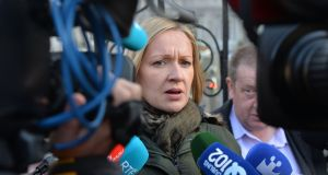 Lucinda Creighton  of Renua Ireland holding a press conference outside the gates of Leinster House in response to the declaration of election. Photograph: Alan Betson / The Irish Times
