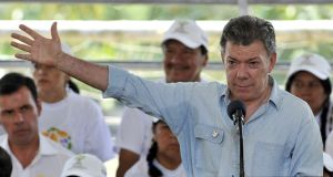 Colombia's president Juan Manuel Santos is on a three-day visit to Washington this week. Photograph: Guillermo Legaria/AFP/Getty Images