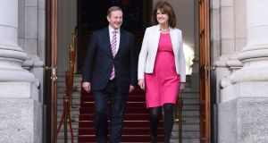 Taoiseach Enda Kenny and Tánaiste Joan Burton. The Coalition argues that there is no alternative majority available to voters.  Photograph: Clodagh Kilcoyne/Reuters