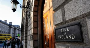 Bank of Ireland: The retreat in financial stocks around Europe saw the bank shares fall 3.5 per cent to €0.27. Photograph: Frantzesco Kangaris/Bloomberg