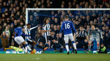 Everton's Aaron Lennon scores in the Premier League game against Newcastle united at Goodison Park. Photograph: Phil Noble/Reuters/Livepic