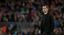 Valencia coach Gary Neville on the sidelines  during the Copa del Rey semi-final first leg against Barcelona  at Camp Nou. Photograph: Alejandro Garcia/EPA