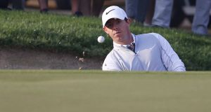 Rory McIlroy shot an opening round of 68 in Dubai. Photograph: Afp