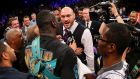 Tyson Fury, pictured confronting WBC heavyweight champion Deontay Wilder, has said there are five venues being discussed for his rematch with Wladimir Klitschko. Photograph: Getty