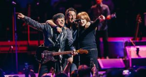 Bruce Springsteen, center, in concert with the the E Street Band, including Steven Van Zandt, left, and Patti Scialfa at Madison Square Garden in New York,on January 27th. Photograph: Nicole Fara Silver/The New York Times