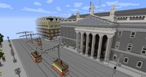 A Minecraft rendering of the GPO in Dublin