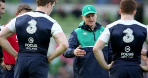 Ireland head coach Joe Schmidt with his team. Photograph: Dan Sheridan/Inpho