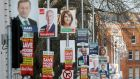 Election posters outside Government Buildings in Dublin as the 2016 general election campaign gets underway. Photograph: Niall Carson/PA Wire