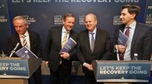 Taoiseach Enda Kenny and ministers, Richard Bruton, Simon Harris and Michael Noonan pictured  at the launch of Fine Gael's long term economic plan. Photograph:  Colin Keegan/Collins Dublin
