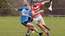 James O'Connell of  CIT gets away from  UUJ's Nicky McKeague and  Michael Russell during the  Fitzgibbon Cup Group D game in   Jordanstown. Photograph: Declan Roughan/Inpho/Presseye