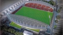 An artist's impression of the new Dalymount Park which would include a new realigned artificial pitch and two new stands.