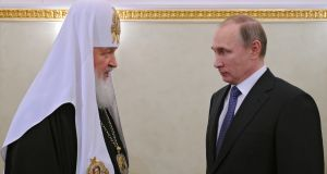 Patriarch Kirill of Moscow with Russian president Vladimir Putin.  The rift between the western and eastern branches of Christianity dates to the Great Schism of 1054. Photograph: Alexey Nikolsky/EPA