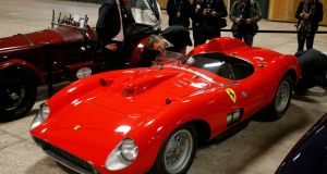 The 1957 Ferrari 335 Sport Scaglietti, one of the most iconic racing cars in the history of the sport, is to go on sale at a Paris Artcurial auction on Friday evening and could reach a record price of up to €32 million. REUTERS/Philippe Wojazer