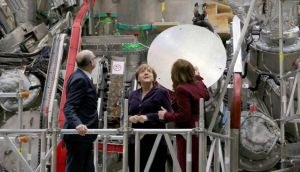 German chancellor Angela Merkel (centre) inspects the Wendelstein 7-x nuclear fusion reactor at the Max Planck Institut in northern Germany. Photograph: Bernd Wüstneck/AFP/Getty Images