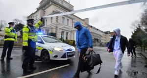 Guests leave the  Regency  Hotel of a shooting.Photograph: Alan Betson/The Irish Times