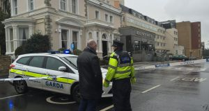 Gardai at the Regency Hotel in Dublin where one man was shot dead and two others were injured during a boxing match weigh-in. Photograph: Alan Betson/The Irish Times