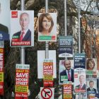 Poll position: election posters outside Government Buildings. Photograph: Niall Carson/PA Wire