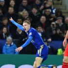 Jamie Vardy celebrates his wonder goal against Liverpool during the week, with Dejan Lovren's face saying it all. Leicester meet Manchester City and Arsenal in their next two games but after that will play five of the current bottom seven. Photograph: Ben Stansall/AFP/Getty Images