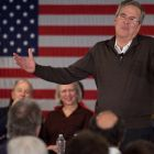 "Republican presidential candidate Jeb Bush speaking in Laconia, New Hampshire. When campaigning in the state on Tuesday, a struggling Bush urged his audience to ""please clap"".  Photograph: Matthew Cavanaugh/Getty Images"