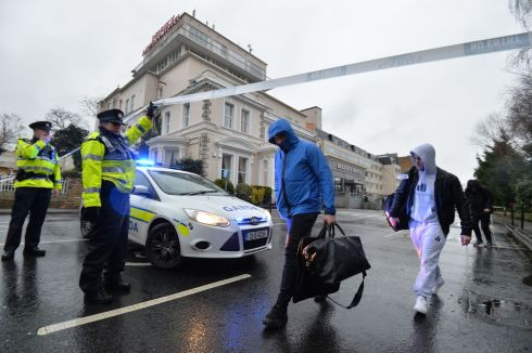 Gardai enforce a cordon at the scene of a fatal shooting at a hotel in Dublin. Photograph: Alan Betson/The Irish Times
