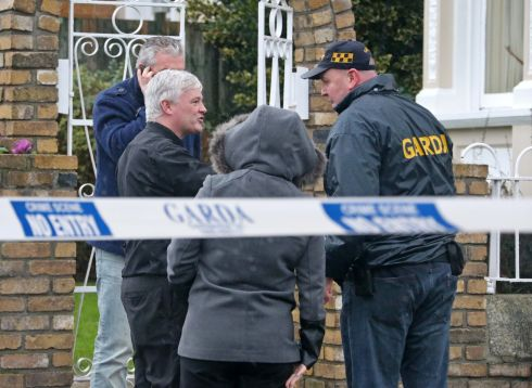 Gardai and others discuss what happened at the Regency hotel in Dublin. Photograph: Colin Keegan/Collins Dublin